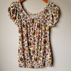 Lucky Brand | Cap Sleeve Floral Top Size S